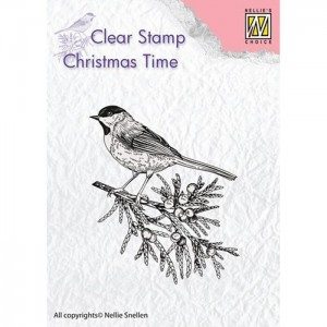 Stempel Nellie's Choice CONIFER BRANCH WITH BIRD