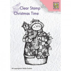 Stempel Nellie's Choice SNOWMAN WITH BIRDHOUSE
