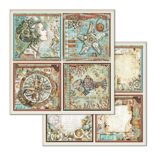 Papier do scrapbookingu Stamperia Sea World 4 Kwadraty 30x30cm