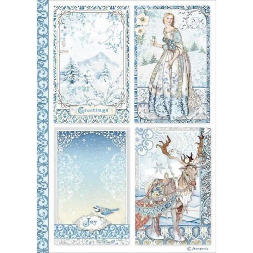 Papier ryżowy A4 Stamperia Winter Tales 4 Karty